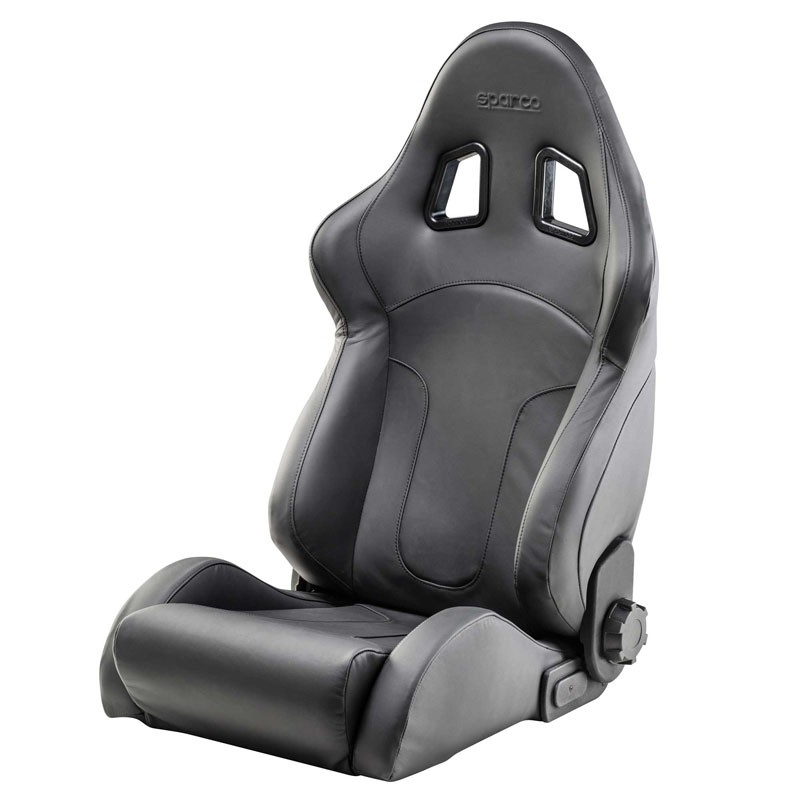 sparco reclinable seat r600 leather black garagerz automotive. Black Bedroom Furniture Sets. Home Design Ideas